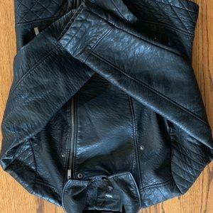 Women's faux leather moto jacket sz L